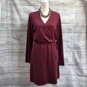 NWT Michael Kors Surplice Wrap Sweater Dress L